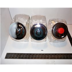 Three (3) Glass Store Display Jars With Lids