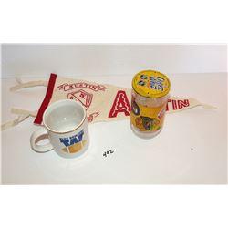 Vintage Winnipeg Blue Bombers Mug, NHL Cheez Whiz Glass w/Lid, Austin Pennant