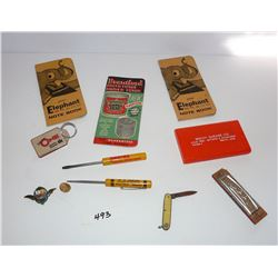 Vintage Pins, Note Books, Screw Drivers, Knife, Etc.