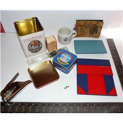 Fold Down Eye Glass Cases, Canada Remembers Tea Tin, Expo '86 Tin, Pen Nibs, Ink Bottle, Military Mu