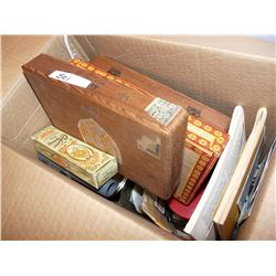 Cigar Boxes, Cheez Whiz Jars, Aprons, Books, Belt Buckle, Fishing Lure, Etc.