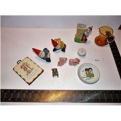 Bunny Salt & Pepper, Gnomes, Cracked Glass Pitcher, Brass Pig, Etc.