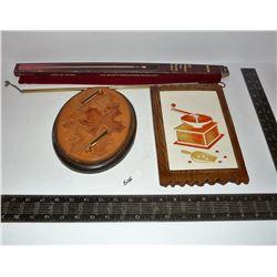 "Vintage Favorware, Hand Made Leather Pen Holder, Brass 18"" Long Fire Starter"
