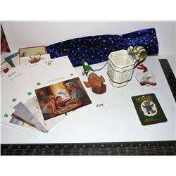 Christmas Items; Vintage Cards, Fitz & Floyd Cup, Carved Elf, Etc.