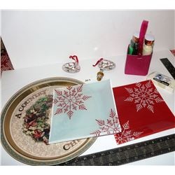 Christmas Tray, Plates, Pins, Soaps, Etc.