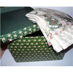 """Christmas Storage  Box & Christmas Table Cloth - Approx. 119"""" Long and 59"""" Wide"""