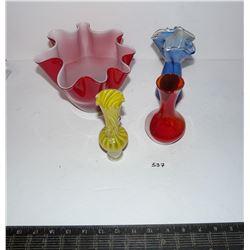 Vintage Handkerchief Glass, Small Vases