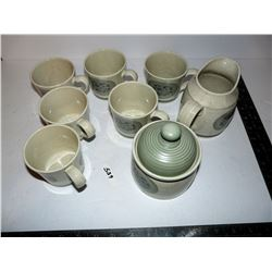 """Royal Doulton Lambethware """"EarthFlower"""" Cups, Creamer & Sugar (There may be a hairline crack in one"""