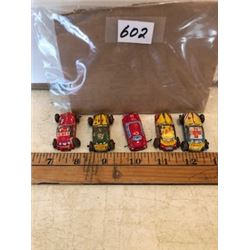 Lot of 5 tiny litho tin cars, 1950's
