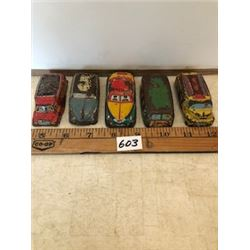 Lot of 5 litho tin cars, trucks 1950's