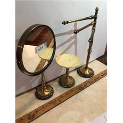 3 piece Bathroom deco set antique brass magnifying mirror, soap, towel stand