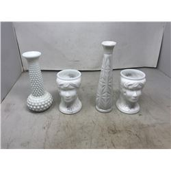 Two Milkglass Head Vases & 2 Milkglass Vases
