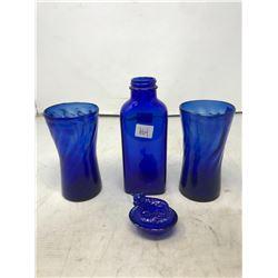 Cobalt Blue Drink Glasses, Miniature Cow On The Nest, Bottle