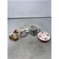 Holt Howard Collectibles - Cup, Candle Holder, Rooster Ornament