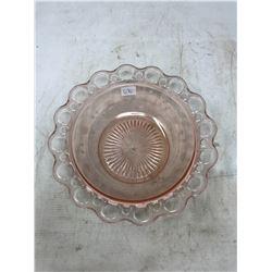 Pink Ribbon Depression Glass Bowl - Etched Sides