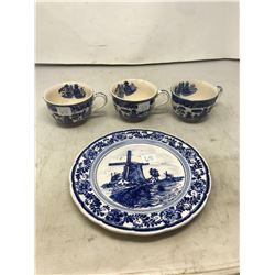 DELFT Blue & White Plate, Blue Willow Cups