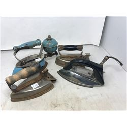Blue Coleman Gas Iron With Accessories Plus 3 Hand Irons