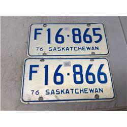 1976 Saskatchewan Farm Plates Number In Sequence