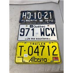 (3) 1970'S License Plates- 2 Alberta 1 Quebec