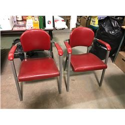 One Pair Of Mid Century Modern Red Vinyl Industrial Arm Chairs