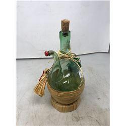Green Glass Coal Oil Lamp And Italian Wicker Wrap Wine Bottle
