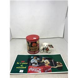 Coca-Cola Advertising Sign, Tin & Coca-Cola Bear