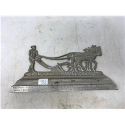 Burns Horse & Plow Plaque With Verse