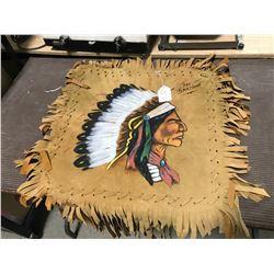 "Chief Blackhawk  - Hanging Leather Wall Art 25"" X 25"""