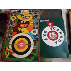 Canada Dry Sign & Vintage Metal Monkey Game