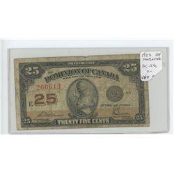 1923 25 cents shinplaster. McCavour-Saunders signatures. DC-24c. VG-10.