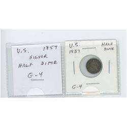 U.S. 1857 Half Dime. G-4.