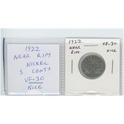 1922 Near Rim nickel 5 cents. VF-30. nice.