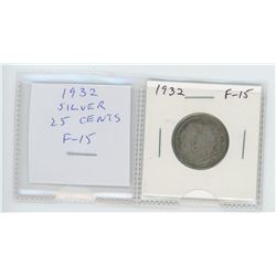 1932 George V silver 25 cents. F-15.