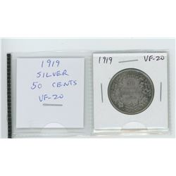 1919 silver 50 cents. VF-20.