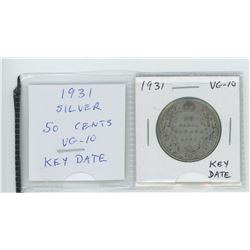 1931 silver 50 cents. VG-10. Key Date.
