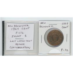 New Brunswick 1864 cent. Short 6 variety. F-12. The last NB large cent issued before Confederation.