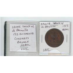 Sainte Therese de Blainville 1913 Euchariste Congress bronze medal. Unc. Scarce.