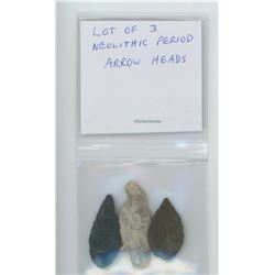 Lot of 3 Neolithic Period Arrow Heads.
