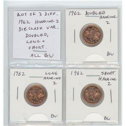Lot of 3 different 1962 Hanging 2 cents: Doubled Hanging 2, Long Hanging 2, Short Hanging 2. All BU