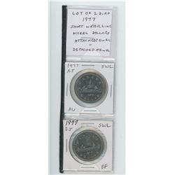 Lot of 2 different 1977 Short Water Lines Nickel Dollars: One Attached Jewel AU, the other Detached