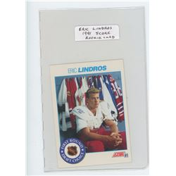 Eric Lindros NHL Hockey card. Score 1991. First Round Draft Choice. Unc.