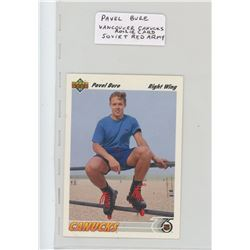 Pavel Bure, NHL Hockey card. Vancouver Canucks with stats of his 3 years playing for Red Army. 1991