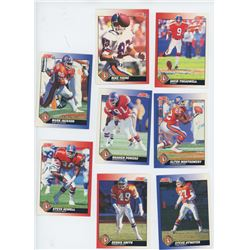 Lot of 8 Denver Broncos NFL cards. Includes Mark Jackson & Steve Sewell. All Unc.