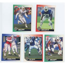 Lot of 5 Indianapolis Colts NFL cards. Includes Sam Clancy & Pat Beach. All Unc.