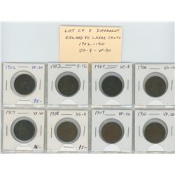 Lot of 8 different Edward VII Canadian Large Cents: 1902-1910. Coins graded VG-8 – VF-30.