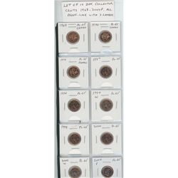 Lot of 10 different Collector Cents 1968 – 2004P. 1968, 1970, 1971, 1987, 1994, 1997W, 1999, 2000, 2