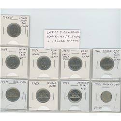 Lot of 9 Canadian varieties. 1942N 5 cents with Spikes from Die Clash; 1949 5 cents with Spikes from