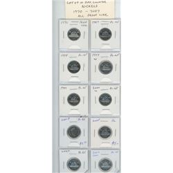 Lot of 10 different Collector Nickels 1970 – 2007. 1970, 1987, 1994, 1997W, 1999, 2000W, 2001P, 2004