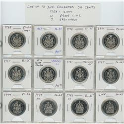Lot of 12 different Collector 50 cents 1968 – 2000. 1968, 1969, 1970, 1971, 1975, 1976 Round Jewels,