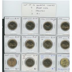 Lot of 12 different Collector Loonies 1988 – 2016. 1988, 1989, 1992, 1993, 1994, 1996, 1997W, 1999,